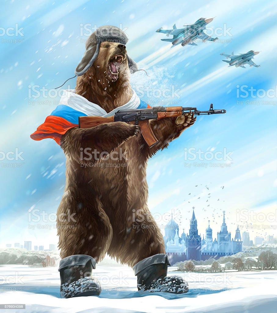 Grotesque (caricature) bear. vector art illustration