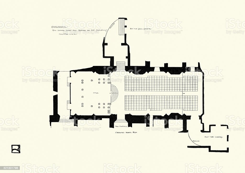 Ground plan of the Guildhall, London, 1900 vector art illustration