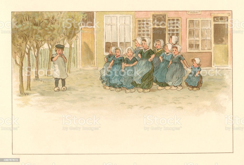 Group of 19th century Dutch girls with a boy​​vectorkunst illustratie