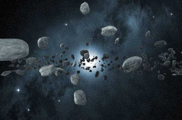 group of asteroids scattered in the space vector art illustration