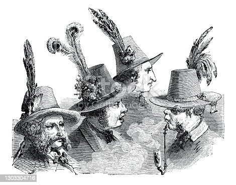 Group of austrian men with traditional hat Original edition from my own archives Source : Tour du Monde 1863 Drawing : Gardel - Lancelot