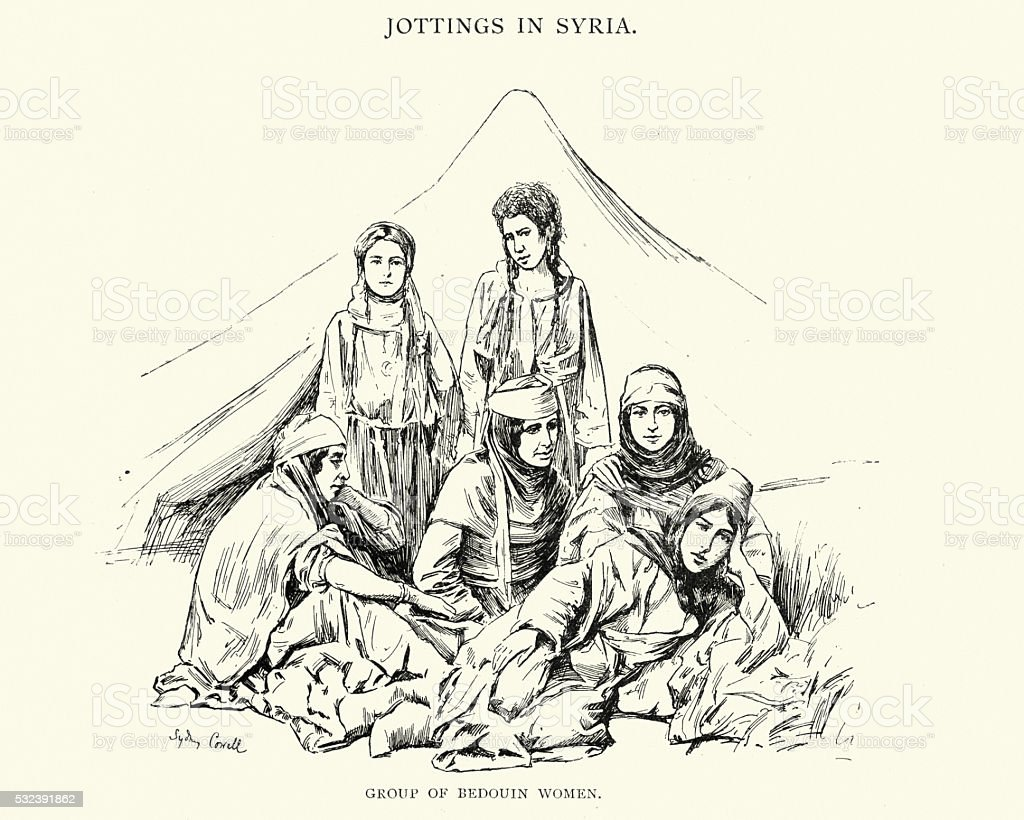 Group of Bedouin Women, 19th Century Syria vector art illustration