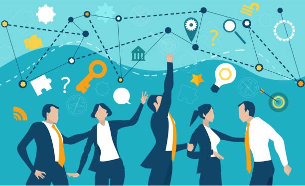 bildbanksillustrationer, clip art samt tecknat material och ikoner med företagsgruppen har ett möte, förhandlar om avtalet och prioriterar. - changing bulb led