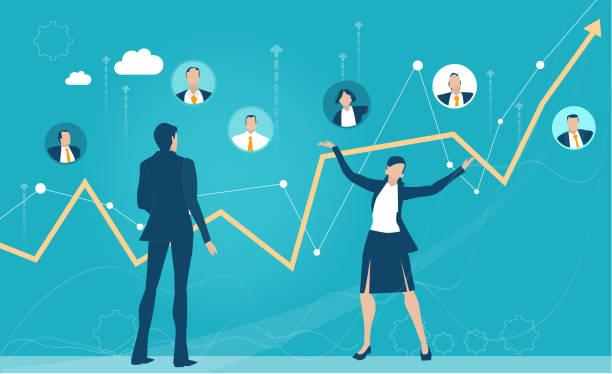 bildbanksillustrationer, clip art samt tecknat material och ikoner med grupp av affärsmän som arbetar på nätet, har ett möte, förhandlar om affären och etablerar prioritet. resultattillväxtraden visar positivt resultat. - changing bulb led