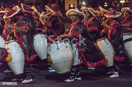istock Group of Candombe Drummers at Carnival Parade of Uruguay 507999154