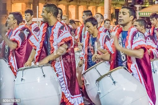 istock Group of Candombe Drummers at Carnival Parade of Uruguay 509476052