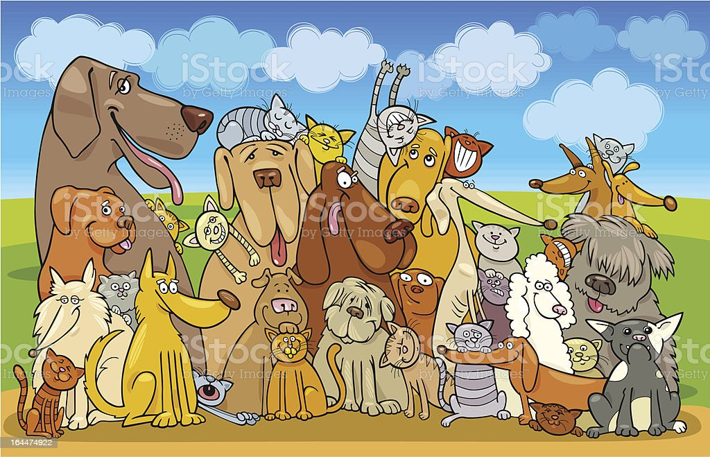 Group of Cats and Dogs royalty-free group of cats and dogs stock vector art & more images of animal