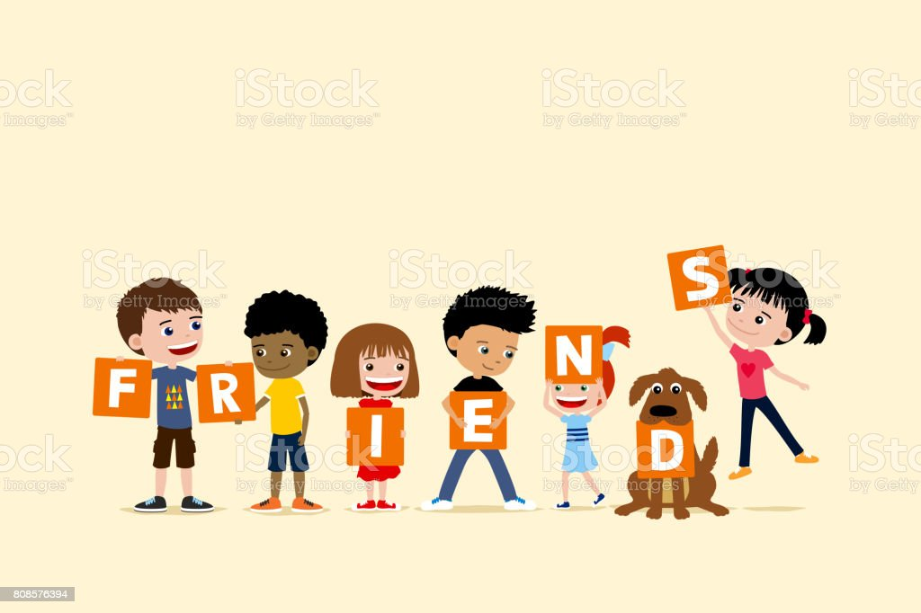 Group of children and a dog holding letters saying friends. Cute diverse cartoon illustration of little girls and boys. vector art illustration