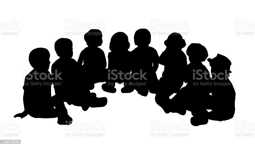 group of children seated in semi circle vector art illustration