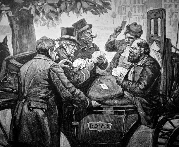 group of elderly men play cards on a carriage - 1896 - old man funny cartoon stock illustrations, clip art, cartoons, & icons