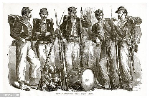 istock Group of Ellsworth's Chicago Zocave Cadets Civil War Engraving 912263218