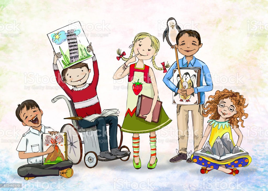 group of happy children include the boy in wheelchair with books