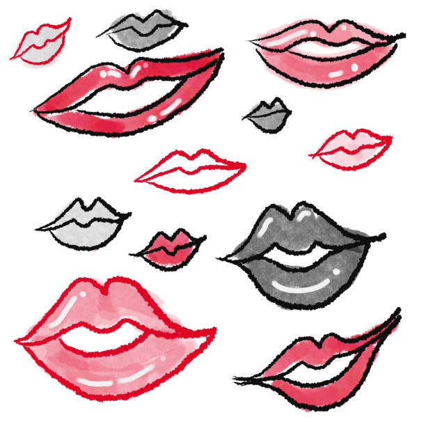 Group of lips drawing Group of hand drawn lips kathrynsk stock illustrations