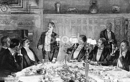 Group of men at a dinner party in New York City, New York, USA. Vintage etching circa late 19th century.
