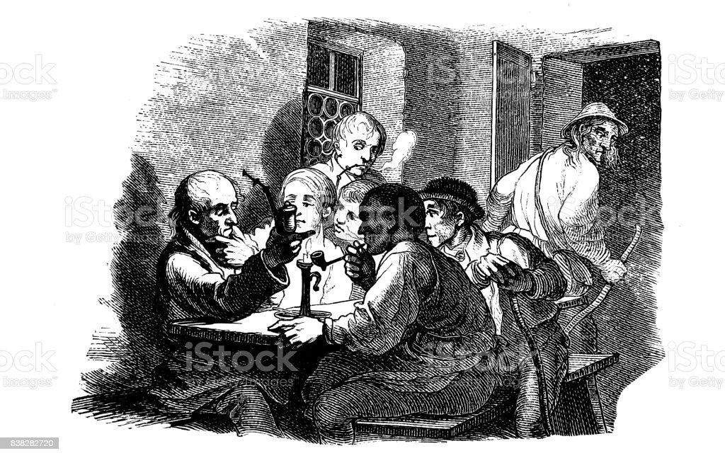 Group of men sitting at a table and smoking a pipe. An elderly man leaves the room - 1867 vector art illustration