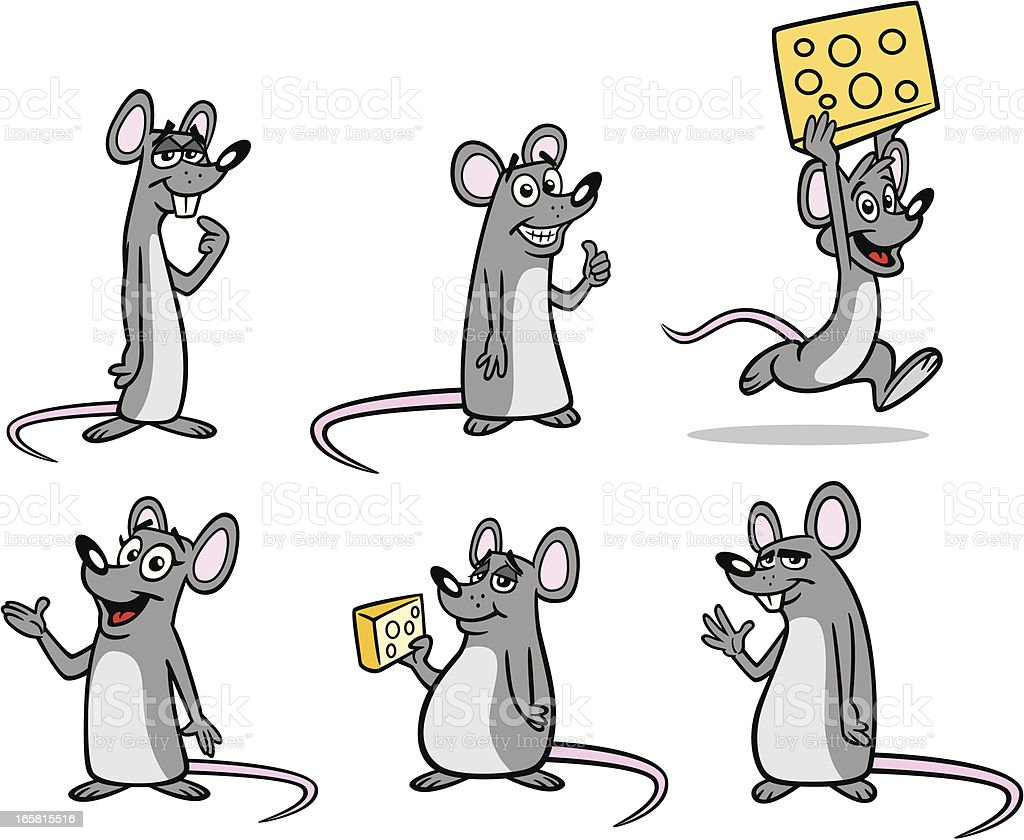 Group of Mice vector art illustration