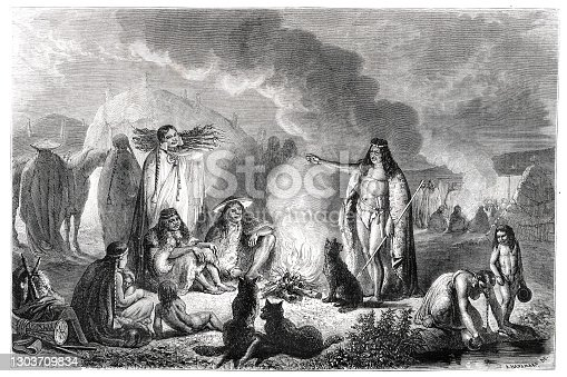 istock Group of patagones at fireplace at camp in Patagonia 1303709834