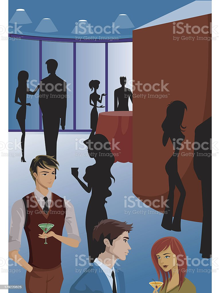 group of people at a work gathering vector art illustration