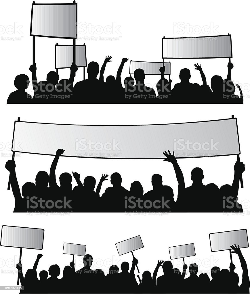 Group of people protesting vector art illustration