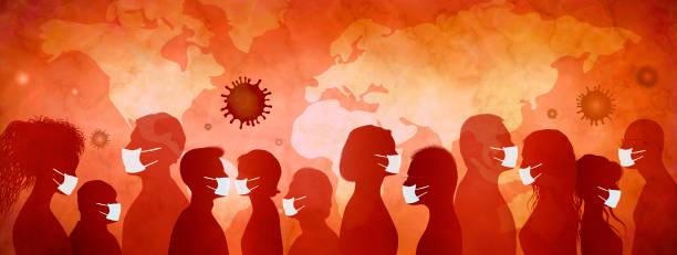 ilustraciones, imágenes clip art, dibujos animados e iconos de stock de grupo de personas con máscaras médicas. epidemia de coronavirus y concepto de pandemia. multitud de personas que se planifican a sí mismas a partir de una infección viral o bacteriológica. peligro de contagio. prevención - covid 19 vaccine