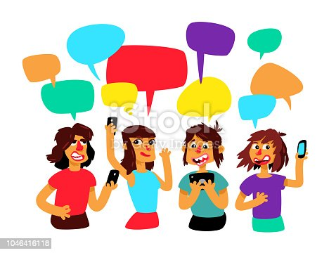 A group of people with comic bubbles are debating. People chat. Illustration in the cartoon style. The illustration is isolated on a white background. Mascots. Characters for the poster and site.