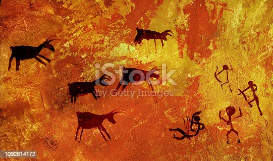 A group of primitive people hunts a herd of hoofed animals of deer and moose. Stylization of cave rock art. Imitation of the plastered wall. Aged cement wall texture. Red plaster wall with dirty background.  Old brickwall with peel grey stucco texture. Decayed cracked rough abstract surface. Retro vintage.