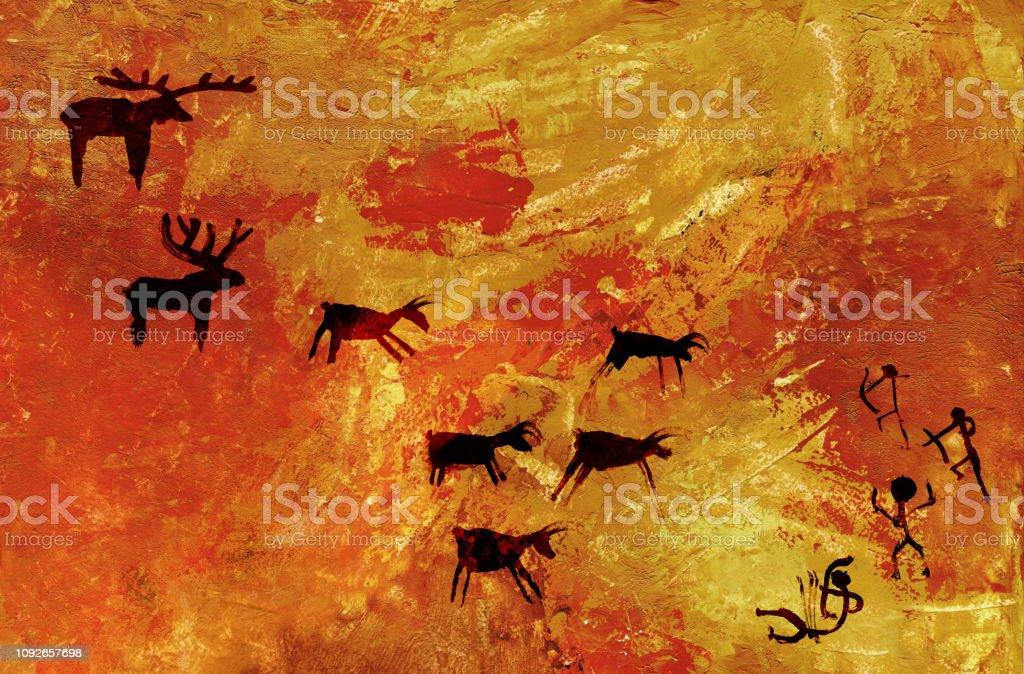 A Group Of Primitive People Hunts A Herd Of Hoofed Animals Of Deer