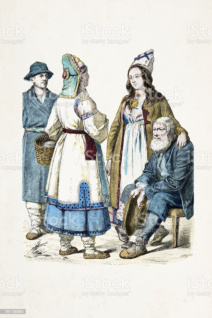 Group of russian citizens in traditional clothing from 19th century royalty-free group of russian citizens in traditional clothing from 19th century stock vector art & more images of 19th century
