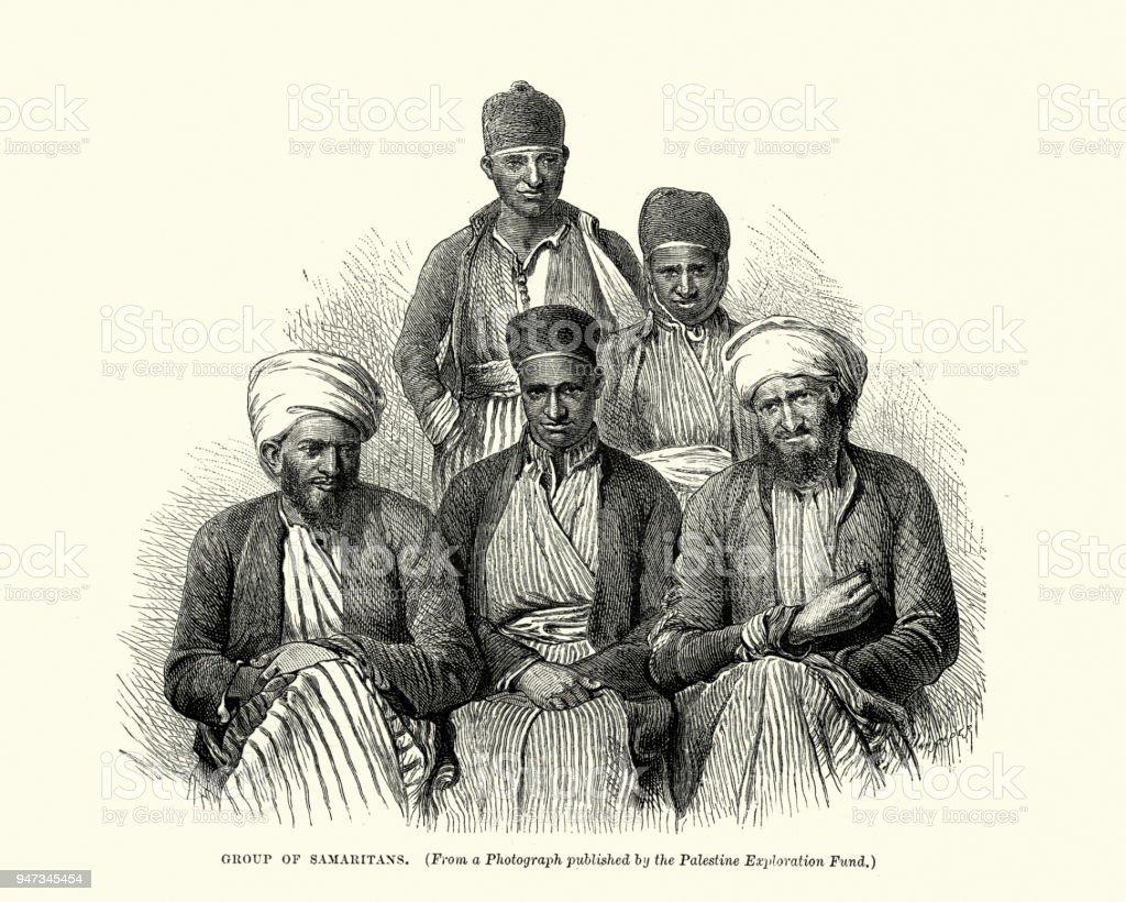 Group of Samaritans, 19th Century vector art illustration