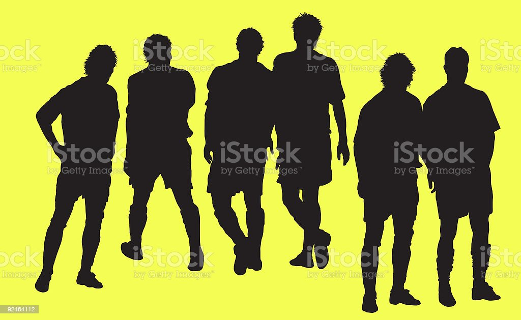 group of soccer player vector silhouette royalty free stock vector art