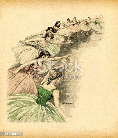 istock Group of teenage girls dancing ballet at class 1893 1337299227