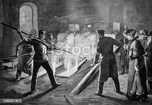 Group of visitors looks at the work in the steelworks - 1895