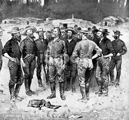 Group of Wild West frontiersmen in Folsom, California, USA. Vintage etching circa late 19th century.