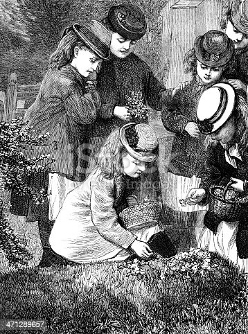 A group of little Victorian girls laying posies of wild flowers on a grave. From