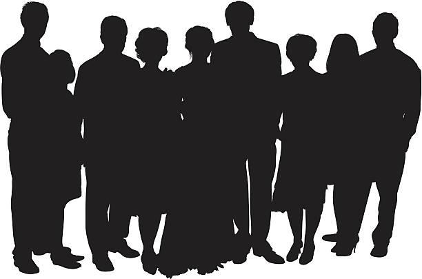 bildbanksillustrationer, clip art samt tecknat material och ikoner med group photo with the bride and groom - par mänskliga relationer