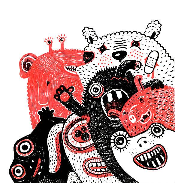 portrait de groupe de monstres de dessin sur fond blanc - Illustration vectorielle