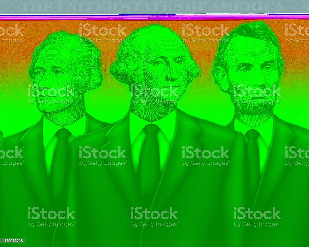 Group Portrait of Washington, Lincoln, and Hamilton as Financial Advisors vector art illustration