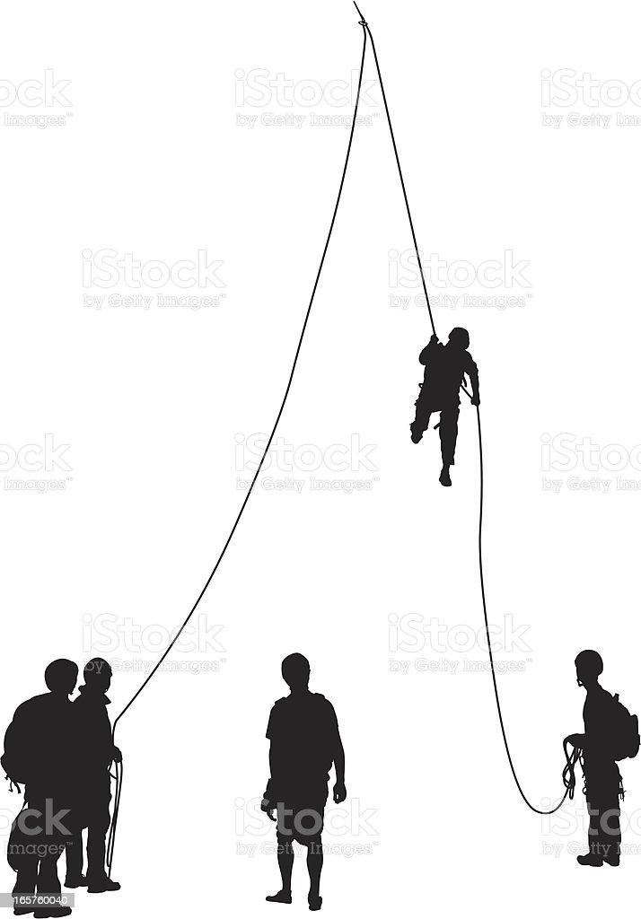Group rock climbing canyoning royalty-free stock vector art
