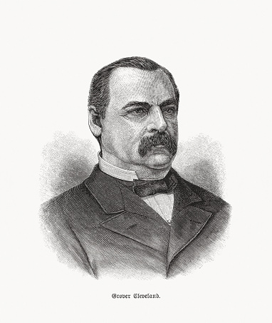 Stephen Grover Cleveland (1837 - 1908) - American politician and lawyer who was the 22nd and 24th president of the United States, the only president in American history to serve two nonconsecutive terms in office from 1885 to 1889 and from 1893 to 1897. Wood engraving, published in 1893.