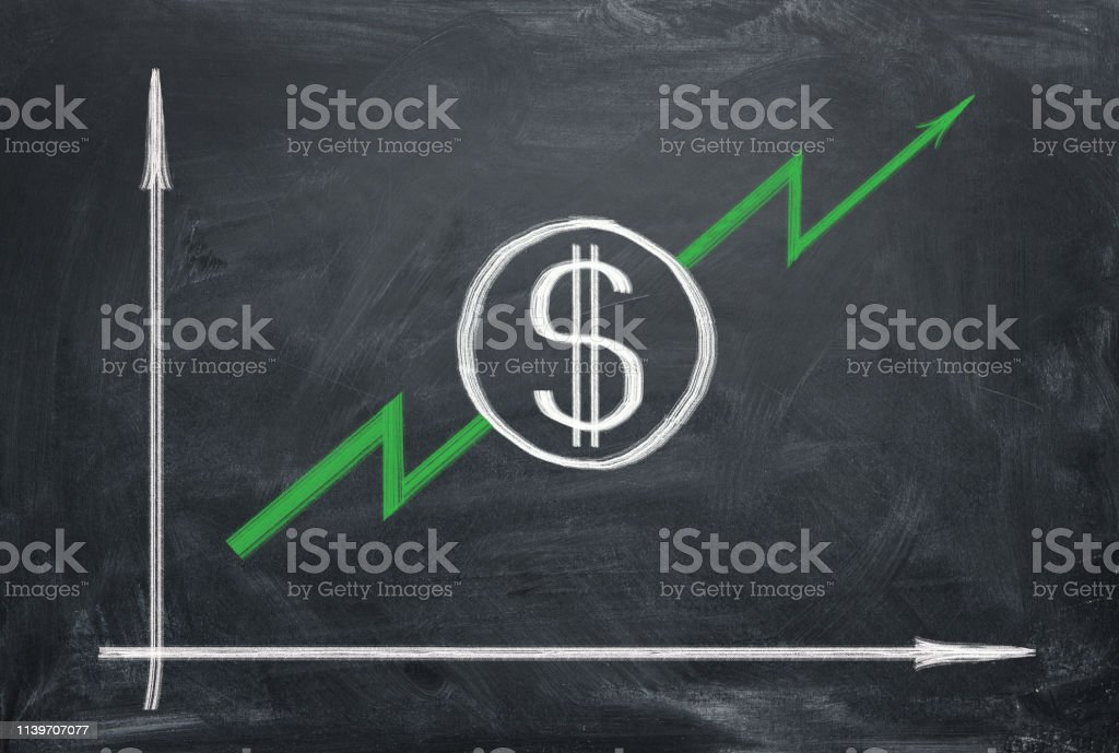 Dollar is rising up to the moon. Growing graph with green arrow on...