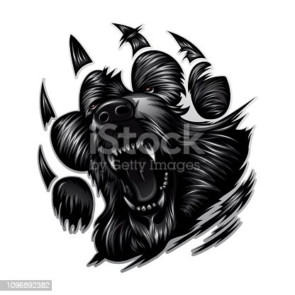 growling bear in the form of a paw with claws