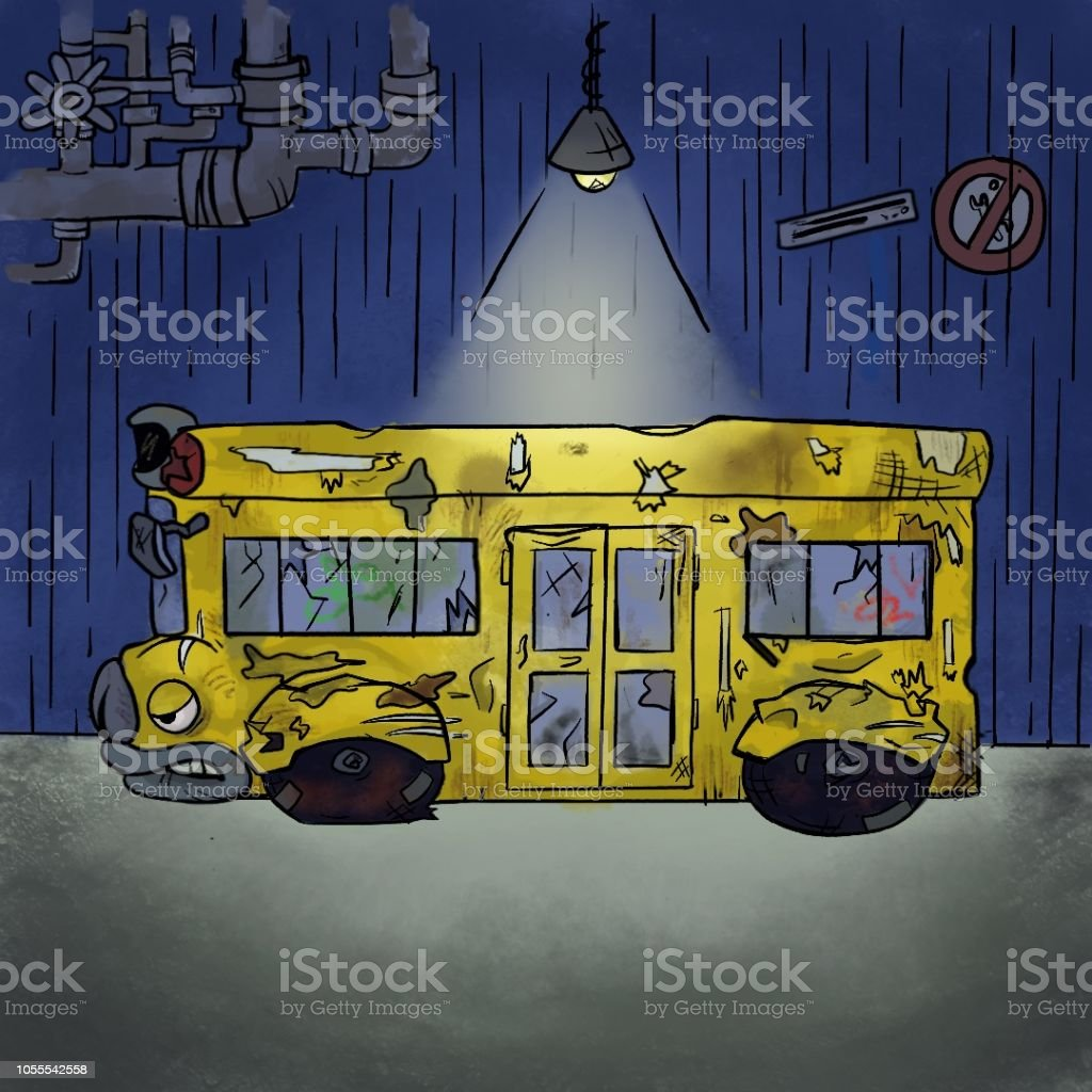 Grumpy Bus vector art illustration