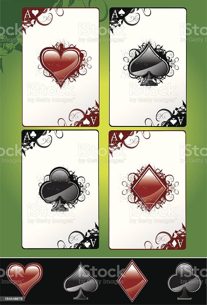 Grunge Aces vector art illustration