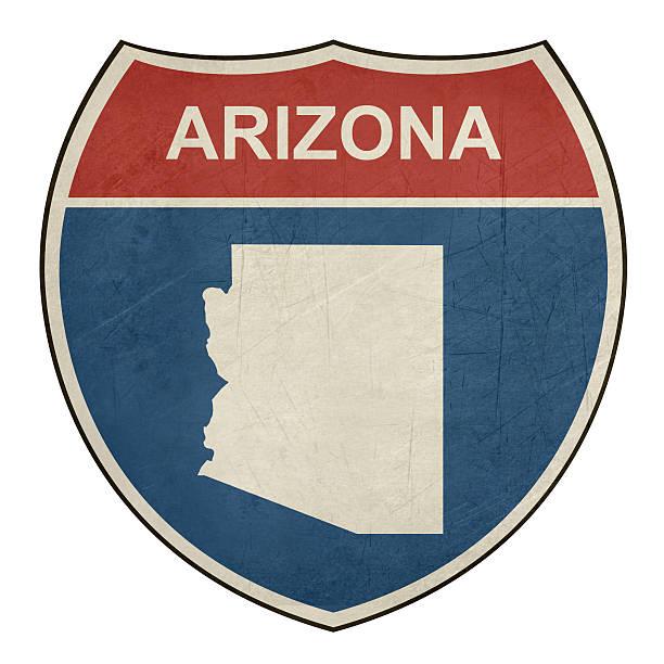 stockillustraties, clipart, cartoons en iconen met grunge arizona interstate highway shield - arizona highway signs