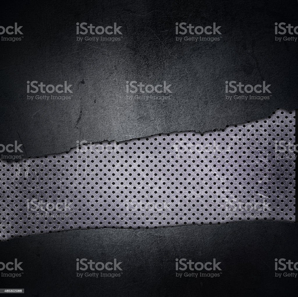 Grunge background with cracked concrete and perforated metal vector art illustration