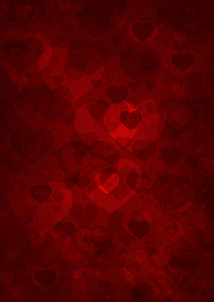 grunge background with hearts vector art illustration