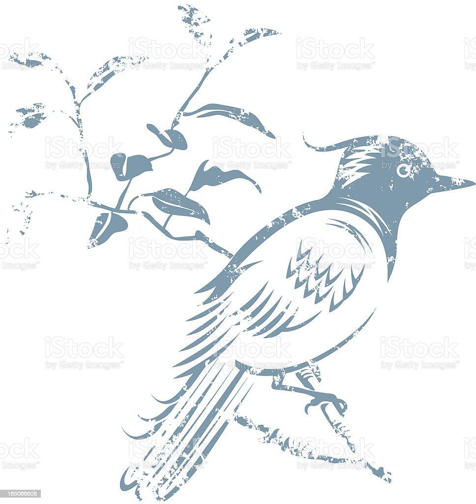 Grunge bird. vector art illustration