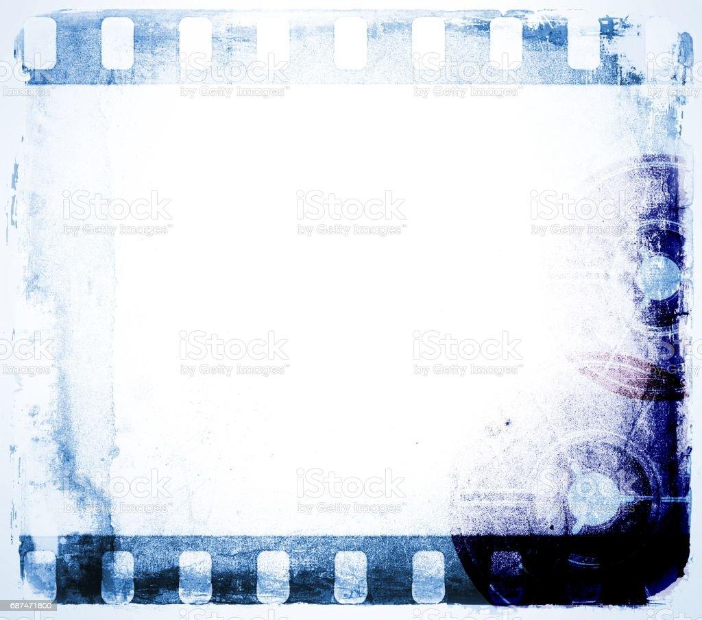 Grunge blue film strip frame. vector art illustration