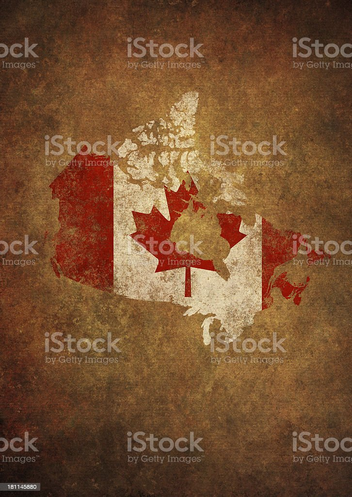 grunge Canada map and flag