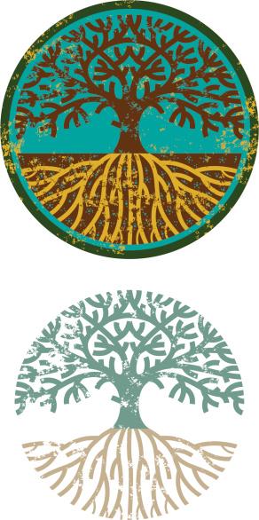Grunge circular tree